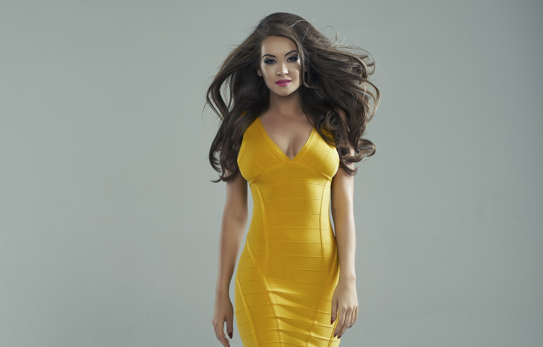 Photo wallpaper look, girl, model, makeup, figure, hairstyle, neckline, brown hair, yellow dress
