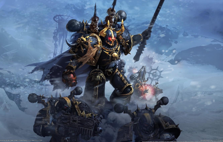 Photo wallpaper magic, Chaos, MAG, skull, Warhammer, 40000, commander, bolter, Chaos Rising, space Marines, Dawn of War …