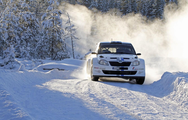 Photo wallpaper Winter, Snow, Sport, Turn, Day, Car, WRC, Rally, Rally, Skoda, Fabia, Skoda