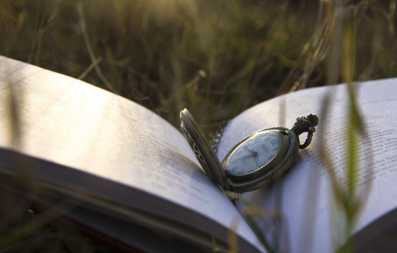 Photo wallpaper grass, watch, book, cover, dial