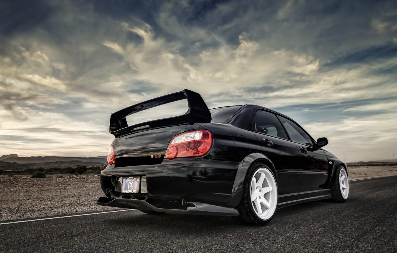 Wallpaper Road Black Subaru Impreza Ass Sti Images For Desktop