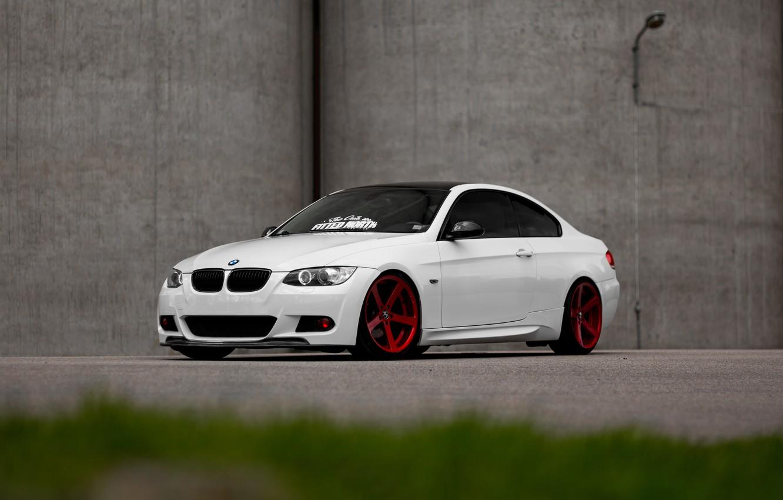 Photo wallpaper BMW, Red, White, E92, Wheels