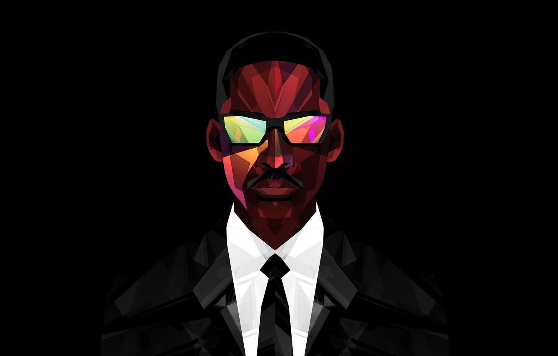 Photo wallpaper the film, glasses, costume, actor, Will Smith, black background, Men in black, agent J, Men …