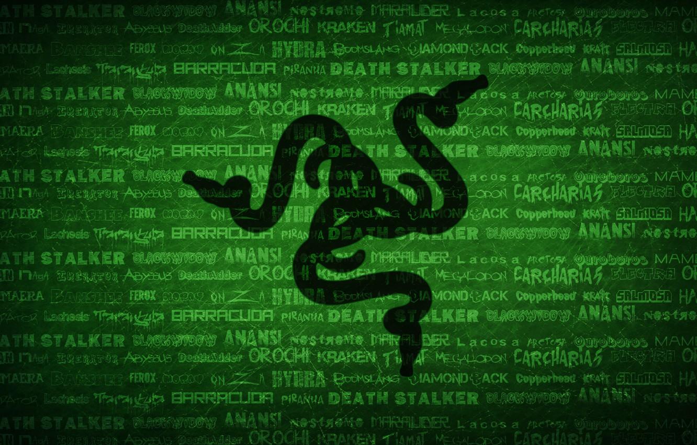 Photo wallpaper Green, Black, Logo, Razer, Wallpaper