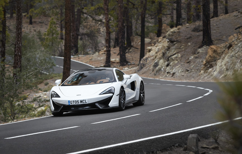 Photo wallpaper road, car, auto, trees, trunks, McLaren, road, 570GT