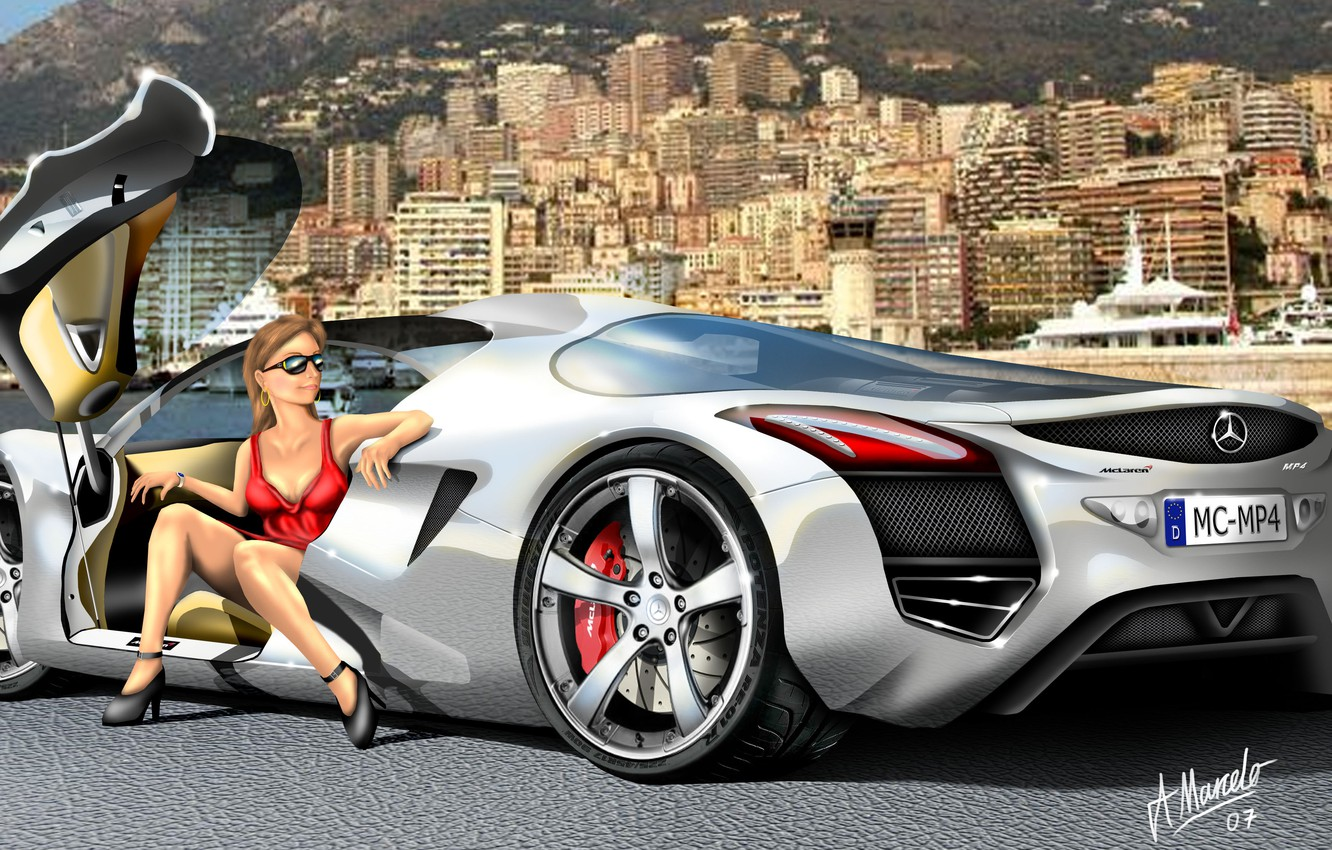 Photo wallpaper mercedes, painting, supercars