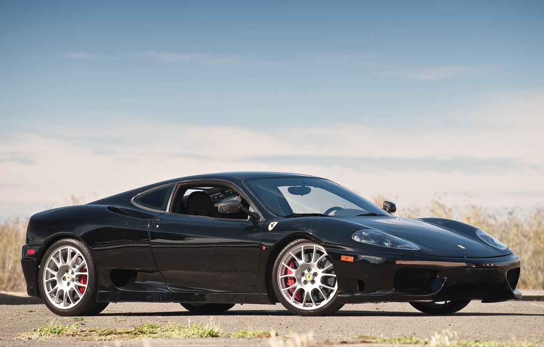 Photo wallpaper the sky, black, Ferrari, black, 360, Ferrari 360, Challenge Stradale