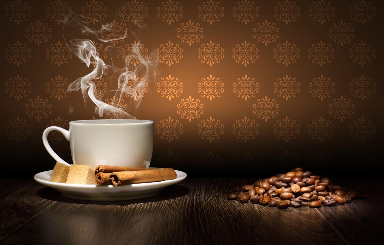 Photo wallpaper table, coffee, grain, couples, Cup, sugar, cinnamon, saucer