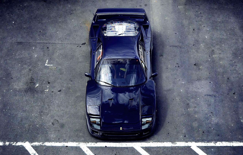 Photo wallpaper asphalt, Parking, Ferrari, F40, Ferrari, blue, F40