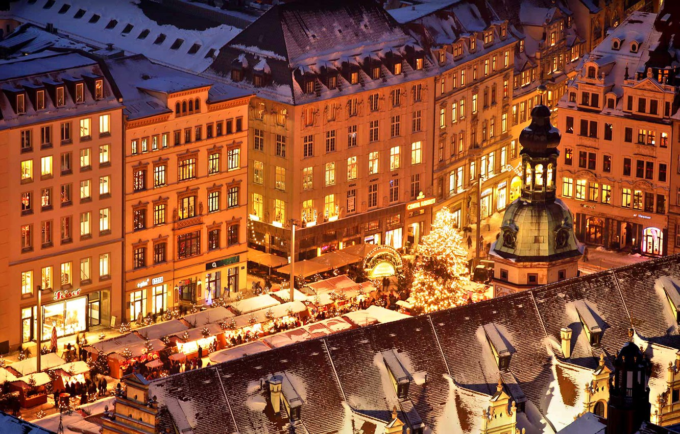 Wallpaper Lights Holiday Germany Area Christmas Saxony Fair Old Town Hall Leipzig Images For Desktop Section Gorod Download