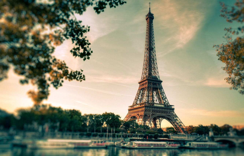 Photo wallpaper Paris, Eiffel, the city. river, tower. sunset