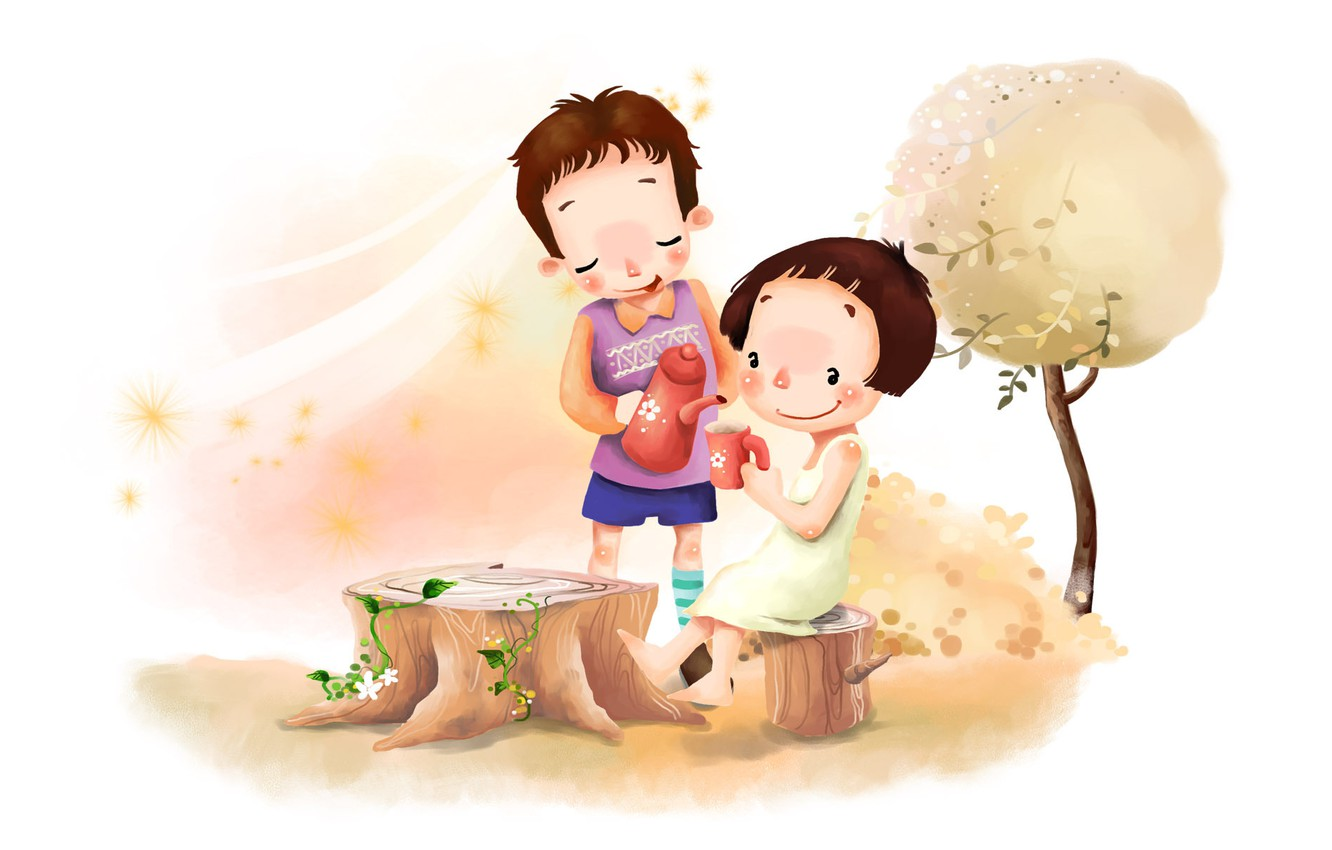 Photo wallpaper flowers, childhood, tree, the wind, foliage, figure, positive, boy, the tea party, girl, clearing