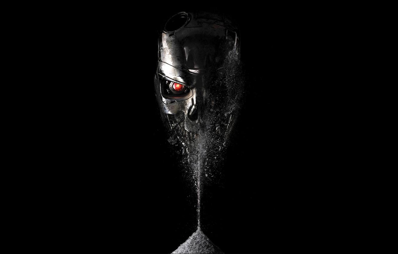 Wallpaper Red Eyes Fiction Skull Terminator Black Background