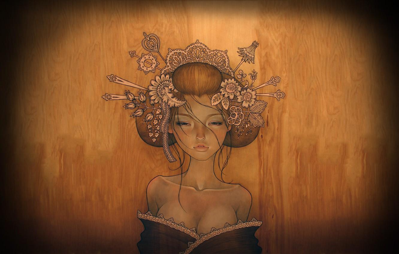 Photo wallpaper chest, girl, tree, hair, geisha, clips