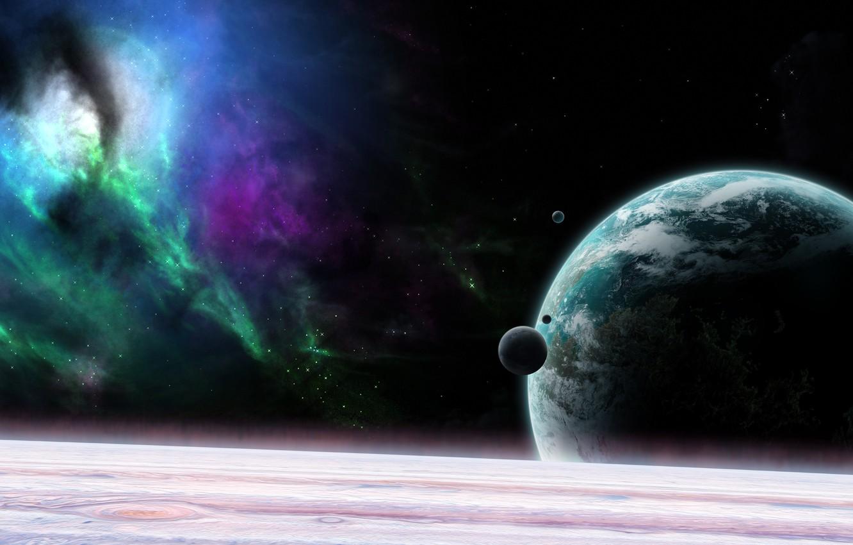 Photo wallpaper the universe, planet, satellite, orbit
