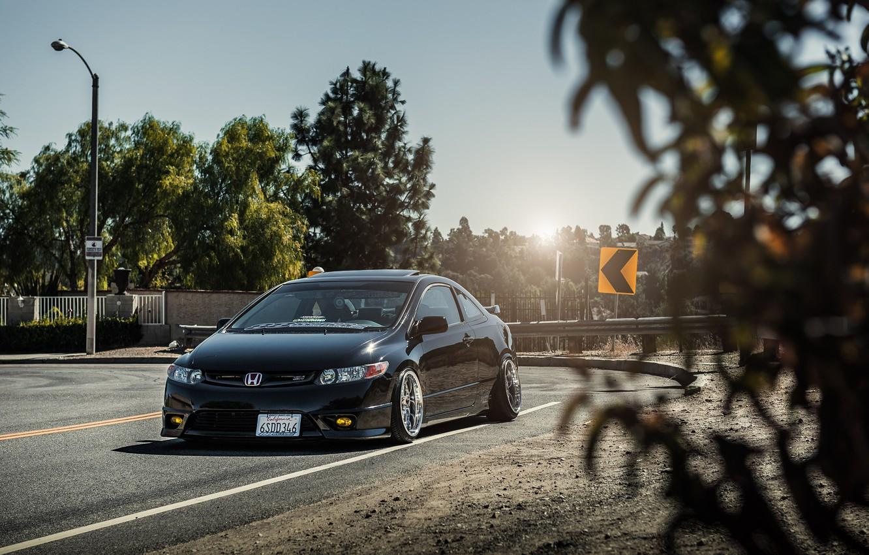 Photo wallpaper auto, honda, black, Honda, civic, civic