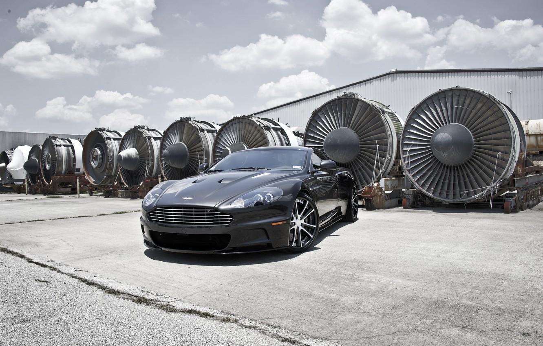 Photo wallpaper grey, Aston Martin, DBS, hangar, Aston Martin, grey, DBS, aircraft engines