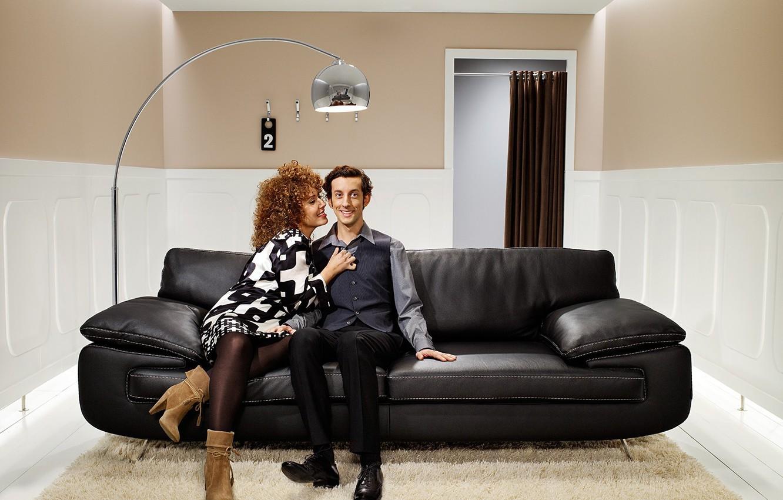 Photo wallpaper sofa, woman, Room, male