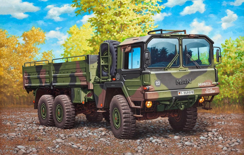 Photo wallpaper figure, Germany, truck, army, MAN, Enzo Maio, terrain, 6x6, 7 tons