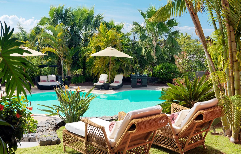 Photo wallpaper sofa, pool, chairs, sunbeds, stand, Palma., pools