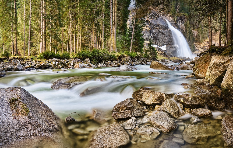 Photo wallpaper forest, waterfall, Austria, Michael Breitung