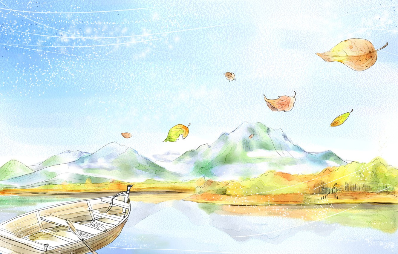 Photo wallpaper leaves, mountains, boat, figure