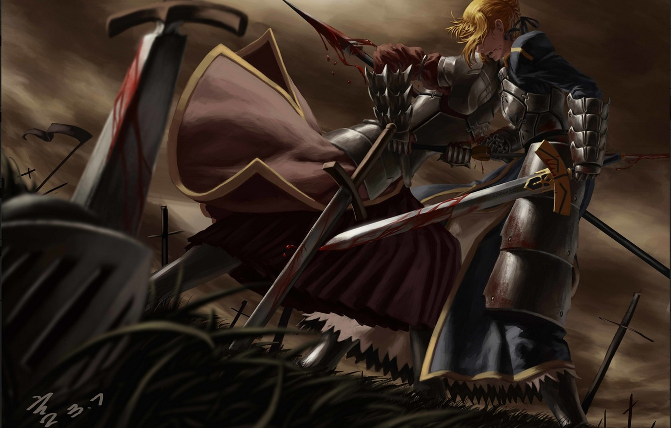 Photo wallpaper girl, weapons, blood, sword, anime, warrior, art, armor, spear, saber, fate stay night, mordred, feitie, …