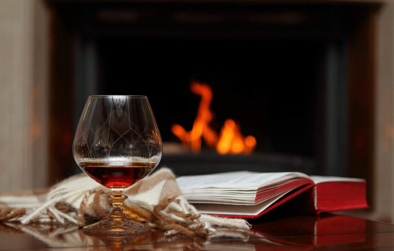 Photo wallpaper glass, the evening, book, fireplace, plaid, cognac