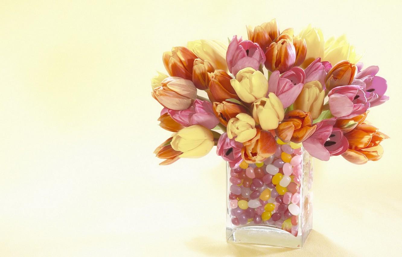 Photo wallpaper flowers, tulips, vase