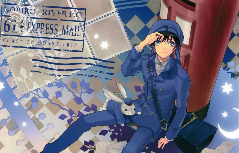 Photo wallpaper rabbit, stamp, guy, bag, blue eyes, uniform, brand, mail