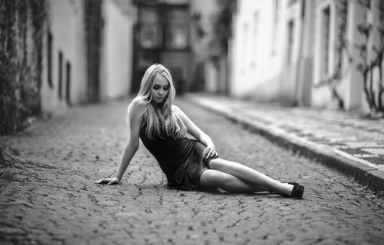 Photo wallpaper girl, street, dress, sitting, bridge, Alone