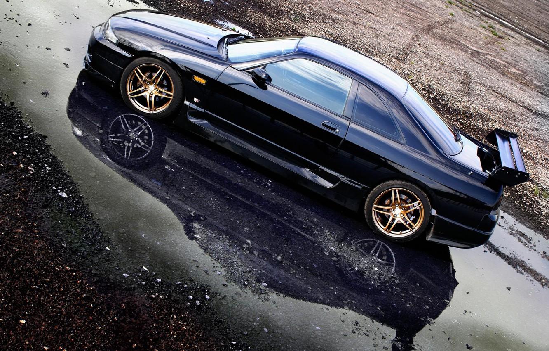 Photo wallpaper puddle, Nissan, casting, skyline, Nissan, gt-r, r33