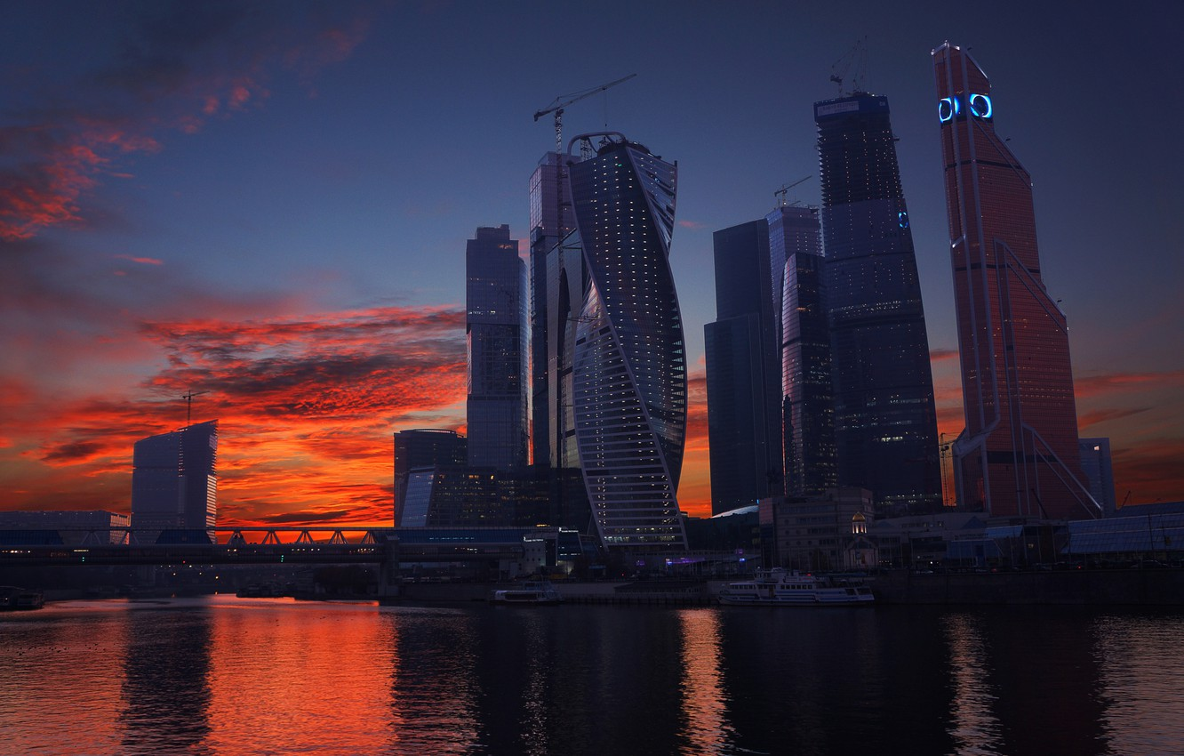 Photo wallpaper Sunset, The sky, Clouds, River, Skyscrapers, Moscow, Russia, Moscow-City