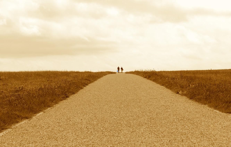 Photo wallpaper road, field, clouds, horizon, pair