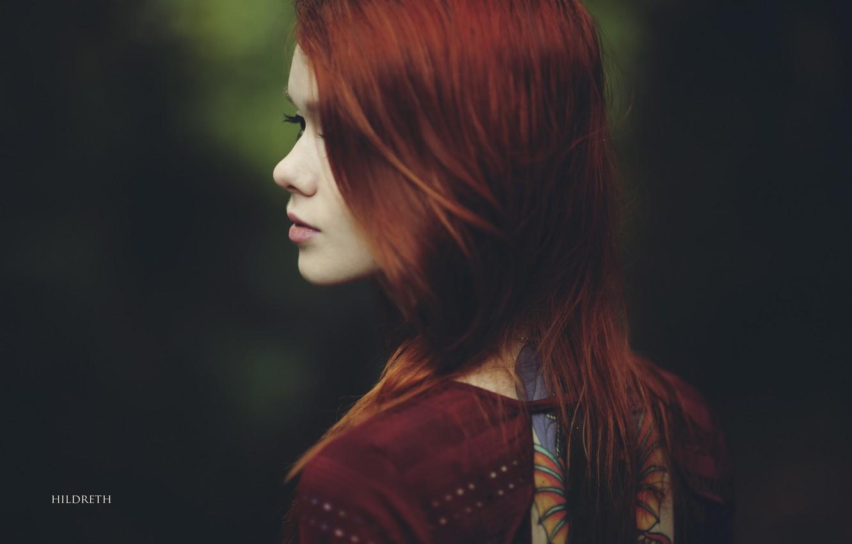 Photo wallpaper look, girl, mood, red, Lass