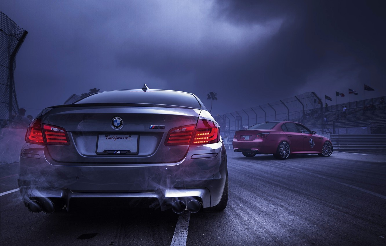 Photo wallpaper the sky, red, clouds, smoke, silver, BMW, BMW, red, back, f10, e60, silvery, exhaust pipe