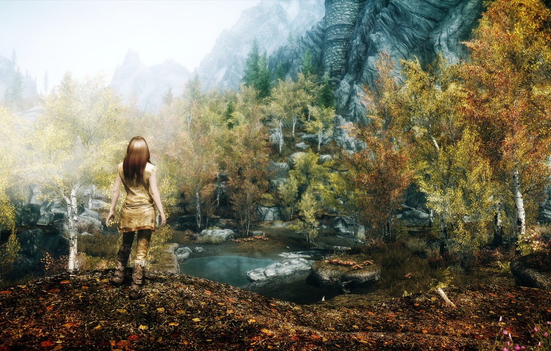 Photo wallpaper girl, Nature, Mountains, The game, Rocks, Trees, Pond, Skyrim