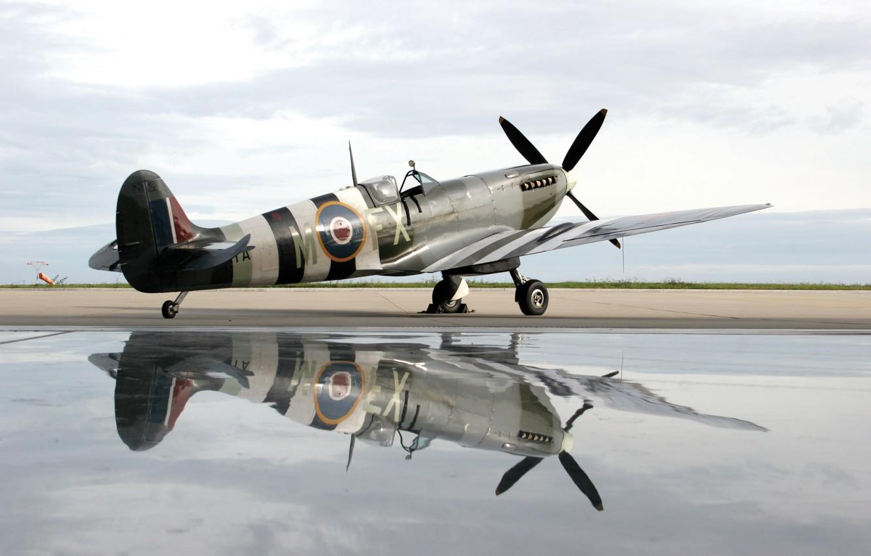 Photo wallpaper water, plane, reflection, spirit of kent spitfire