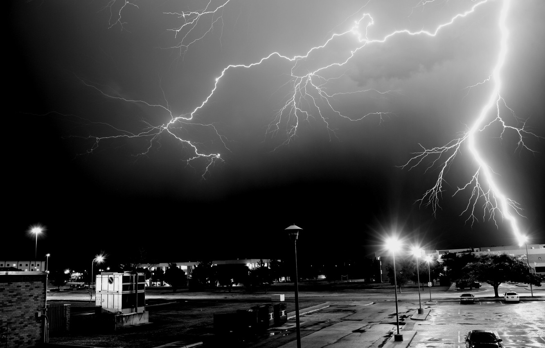 Photo wallpaper night, the city, lightning