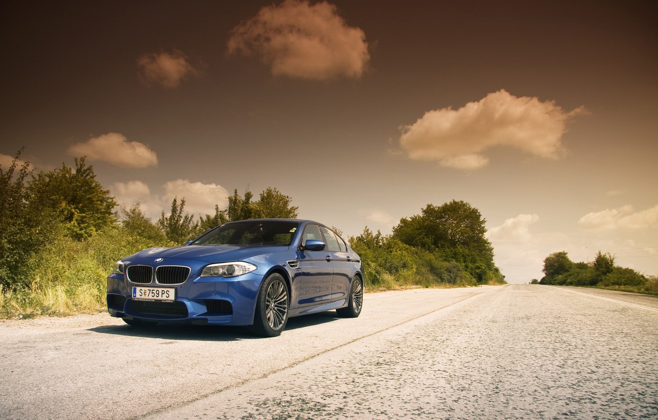 Photo wallpaper road, the sky, clouds, BMW, BMW, blue, blue, F10