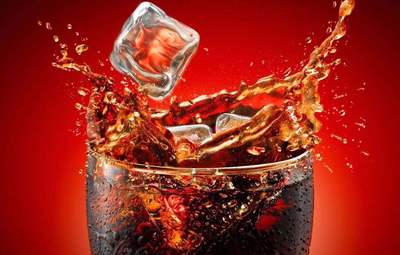 Photo wallpaper squirt, glass, splash, drink, Coca-Cola, Cola