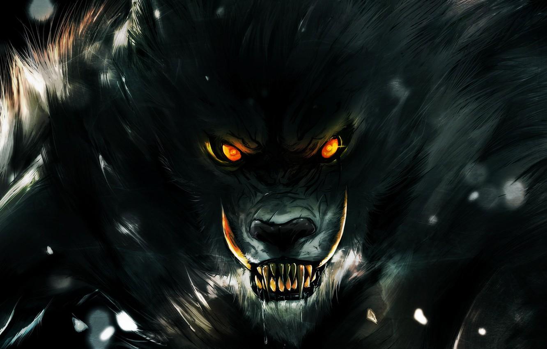 Photo wallpaper eyes, look, darkness, wolf, teeth, rage, grin, werewolf