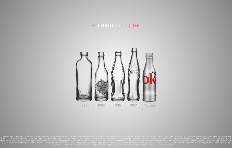 Photo wallpaper design, bottle, coca-cola, evolution, design, evolution, Coca-Cola, 2560x1600, bottles, coke, years, years
