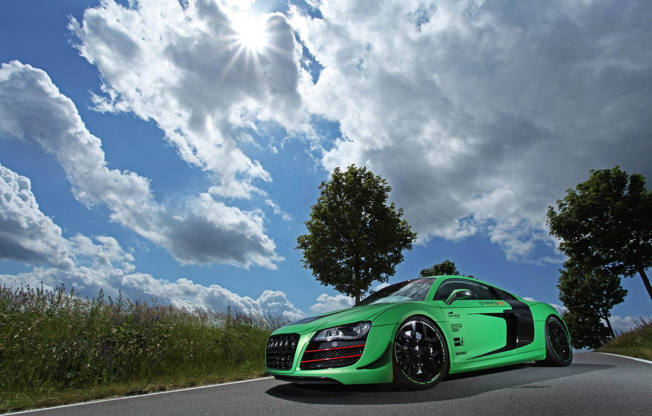 Photo wallpaper road, auto, the sky, grass, clouds, machine, audi, tuning, racing one