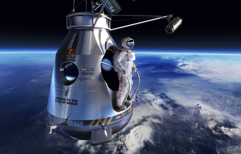 Red Bull Skydive >> Wallpaper widescreen, space, sport, Earth, flight, man, jumping, red bull, horizon, atmosphere ...