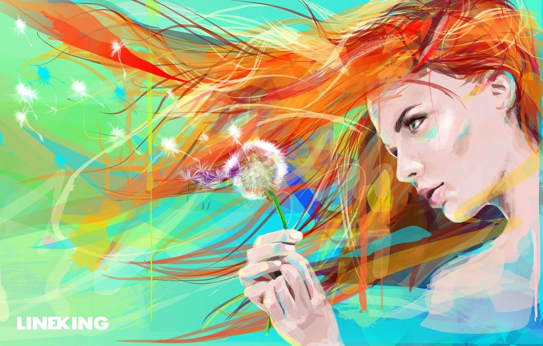 Photo wallpaper flower, eyes, girl, face, dandelion, paint, hair, figure, art, painting
