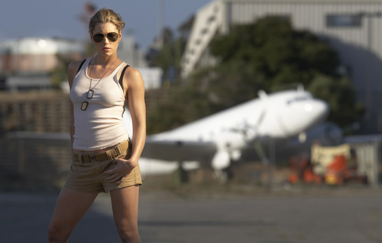 Photo wallpaper girl, the plane, fiction, shorts, blur, Mike, figure, glasses, pilot, action, the airfield, Stealth, Jessica …