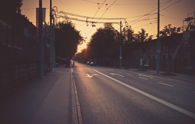 Photo wallpaper road, photo, street, the evening