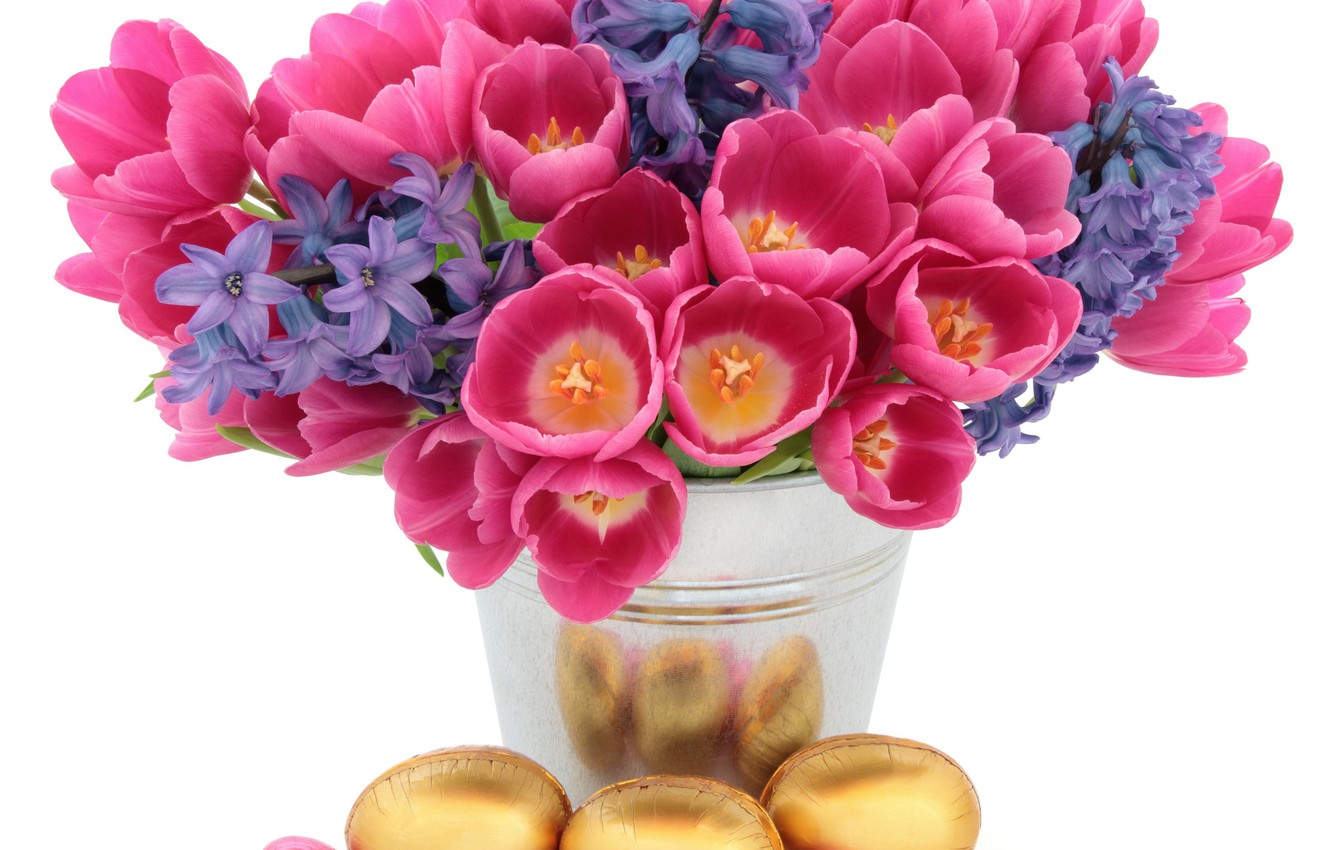 Photo wallpaper flowers, background, holiday, eggs, Easter, tulips, vase