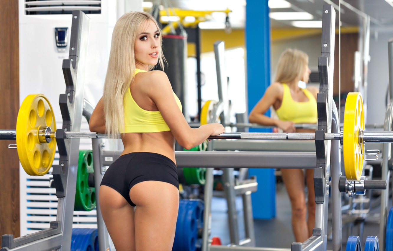 Photo wallpaper look, blonde, workout, gym